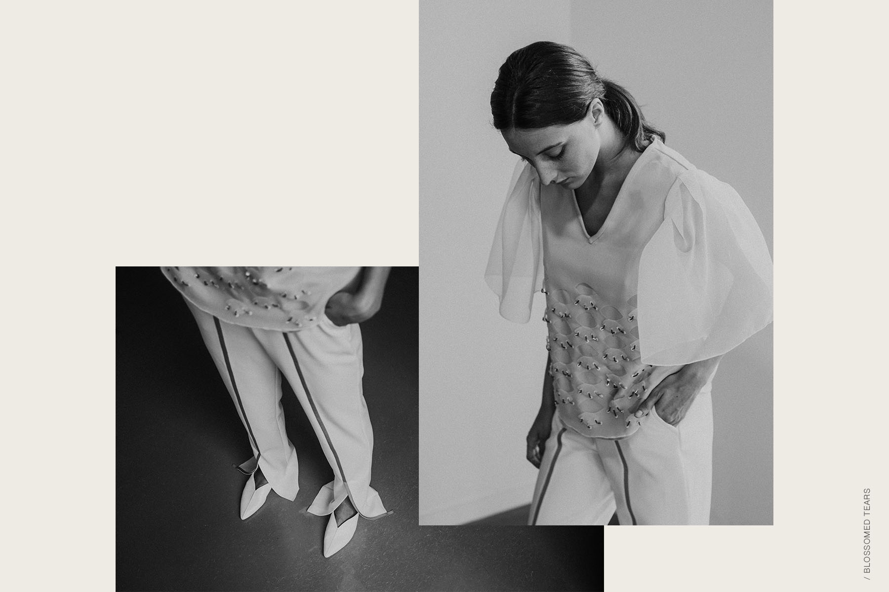 © ELI-two   colección moda Blossomed Tears   Blusa HORTENSE y pantalones NIVES